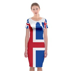 Iceland Flag Map Classic Short Sleeve Midi Dress