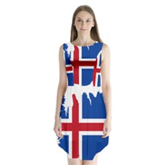 Iceland Flag Map Sleeveless Chiffon Dress