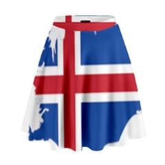 Iceland Flag Map High Waist Skirt