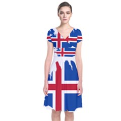 Iceland Flag Map Short Sleeve Front Wrap Dress