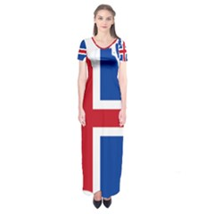 Iceland Flag Map Short Sleeve Maxi Dress