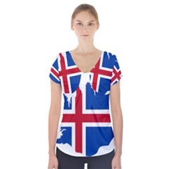 Iceland Flag Map Short Sleeve Front Detail Top