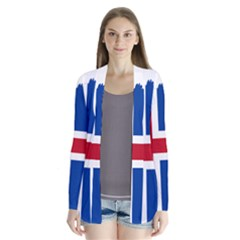 Iceland Flag Map Drape Collar Cardigan