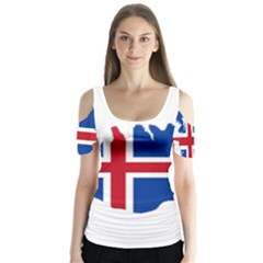 Iceland Flag Map Butterfly Sleeve Cutout Tee