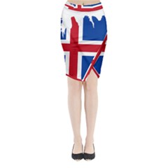 Iceland Flag Map Midi Wrap Pencil Skirt
