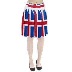 Iceland Flag Map Pleated Skirt