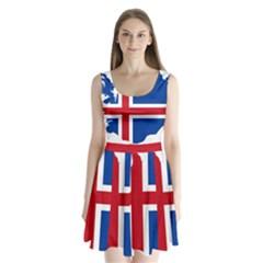 Iceland Flag Map Split Back Mini Dress