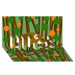Brown bird HUGS 3D Greeting Card (8x4)
