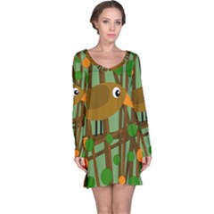 Brown bird Long Sleeve Nightdress