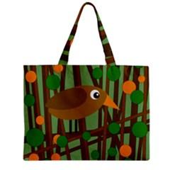 Brown bird Zipper Mini Tote Bag