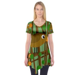 Brown Bird Short Sleeve Tunic