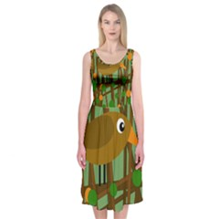 Brown bird Midi Sleeveless Dress
