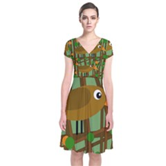 Brown Bird Short Sleeve Front Wrap Dress