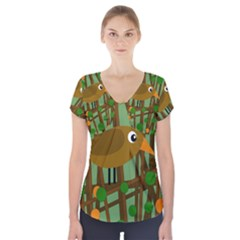 Brown bird Short Sleeve Front Detail Top