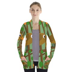 Brown bird Women s Open Front Pockets Cardigan(P194)