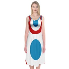 Roundel of the French Air Force  Midi Sleeveless Dress