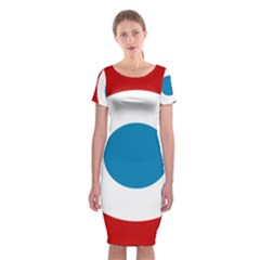 Roundel Of The French Air Force  Classic Short Sleeve Midi Dress