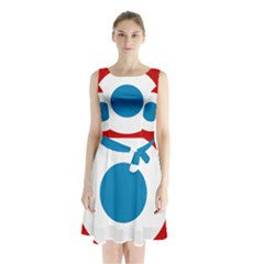 Roundel of the French Air Force  Sleeveless Waist Tie Dress
