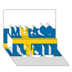 Flag Of Sweden Miss You 3d Greeting Card (7x5)