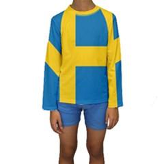 Flag of Sweden Kid s Long Sleeve Swimwear