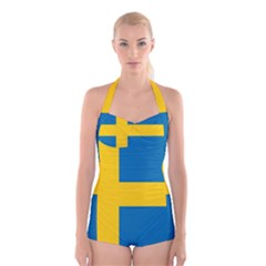 Flag of Sweden Boyleg Halter Swimsuit