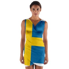 Flag of Sweden Wrap Front Bodycon Dress