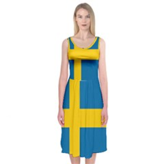 Flag Of Sweden Midi Sleeveless Dress
