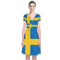 Flag Of Sweden Short Sleeve Front Wrap Dress