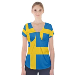 Flag Of Sweden Short Sleeve Front Detail Top