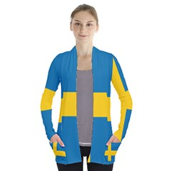 Flag Of Sweden Women s Open Front Pockets Cardigan(p194)