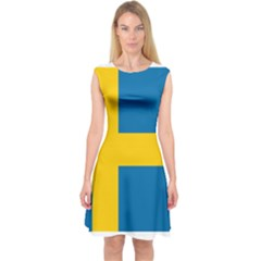 Flag of Sweden Capsleeve Midi Dress