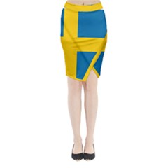 Flag of Sweden Midi Wrap Pencil Skirt