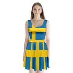 Flag Of Sweden Split Back Mini Dress