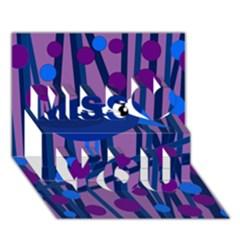 Purple bird Miss You 3D Greeting Card (7x5)
