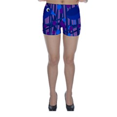 Purple bird Skinny Shorts