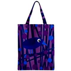 Purple bird Zipper Classic Tote Bag