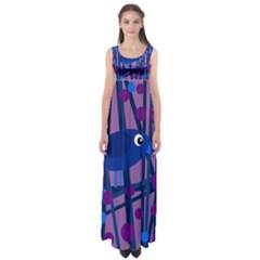 Purple bird Empire Waist Maxi Dress