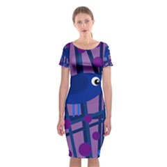 Purple bird Classic Short Sleeve Midi Dress