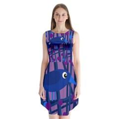 Purple Bird Sleeveless Chiffon Dress
