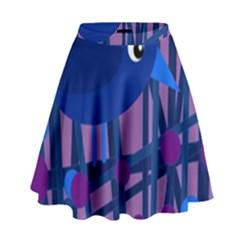 Purple bird High Waist Skirt