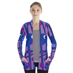 Purple bird Women s Open Front Pockets Cardigan(P194)