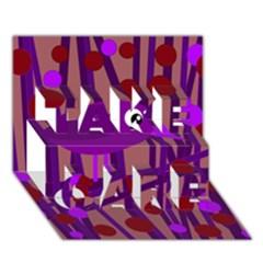 Sweet purple bird TAKE CARE 3D Greeting Card (7x5)