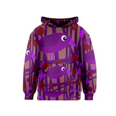 Sweet purple bird Kids  Pullover Hoodie