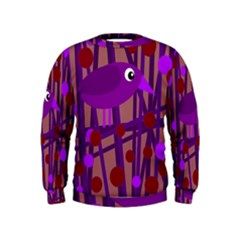 Sweet purple bird Kids  Sweatshirt
