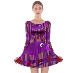 Sweet purple bird Long Sleeve Skater Dress