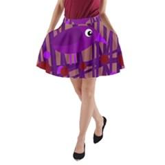 Sweet purple bird A-Line Pocket Skirt
