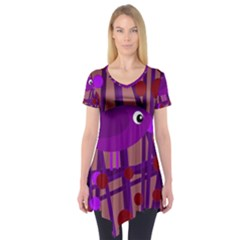 Sweet purple bird Short Sleeve Tunic