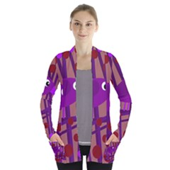 Sweet purple bird Women s Open Front Pockets Cardigan(P194)