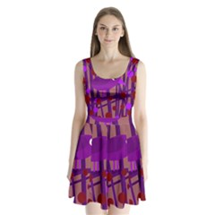 Sweet Purple Bird Split Back Mini Dress