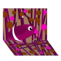 Cute magenta bird Circle 3D Greeting Card (7x5)